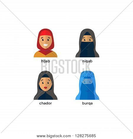 Stylish muslim headwear icon: hijab niquab chador burqa. Muslim woman vector avatar