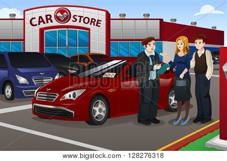 A vector illustration couple buying new car in the dealership