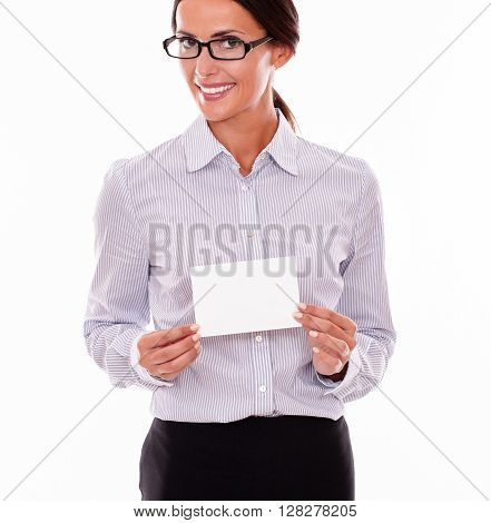 Satisfied Brunette Businesswoman With Copy Space