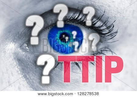 TTIP eye looks at viewer concept background.