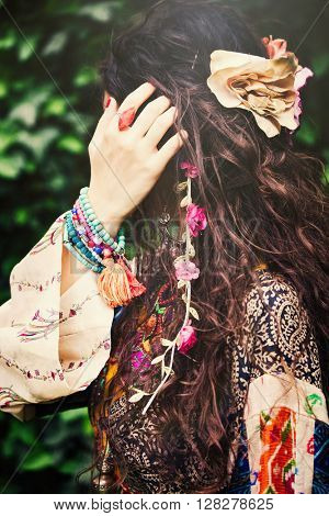 woman boho style hair fashion details closeup outdoor shot