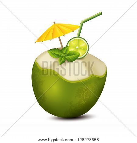 Cocktail in green coconut on white background