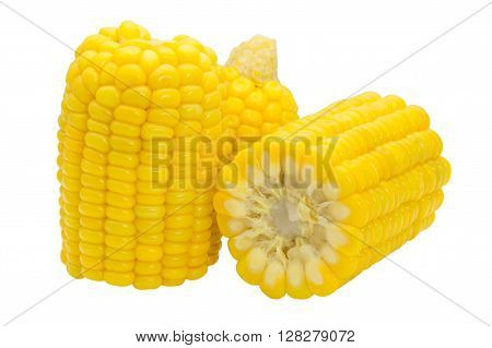 Boiled sweet corn isolated on a white background.