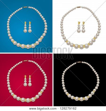 Pearl Necklace and Earrings with Gems on the White, Black, Blue, Red Background. Realistic Pearl Jewerly Gift. Jewerly Shop Sale. Vector Illustration