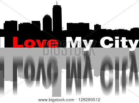 Skyline with phrase I Love My City, adn with graphic black and red love