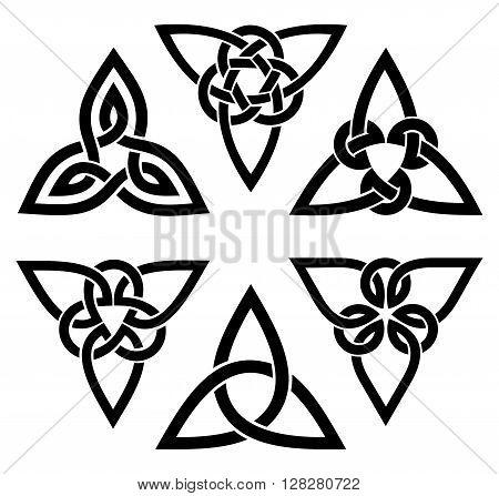 vector celtic trinity knot set, black on white