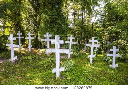 cemetery in campus of Wojnowo monastery, Warmian-Masurian Voivodeship, Poland