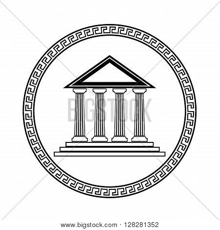 Greek Black  Silhouette Temple Isolated on White Background.