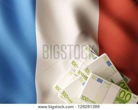 Euro banknote bundles on textile textured France flag. 3d rendering.