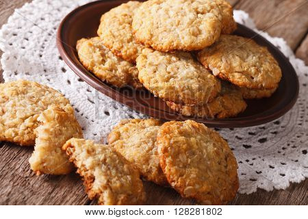 Australian Anzac Biscuits Close Up On A Plate. Horizontal
