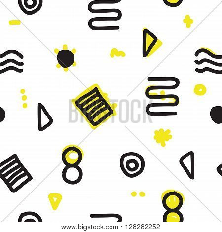 Abstract geometric minimal seamless pattern. chaotic shapes and lines. Hipster fashion Memphis style. Vector colour background
