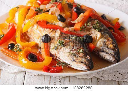 Escabeche Fish: Mackerel In Vegetable Marinade Close-up. Horizontal