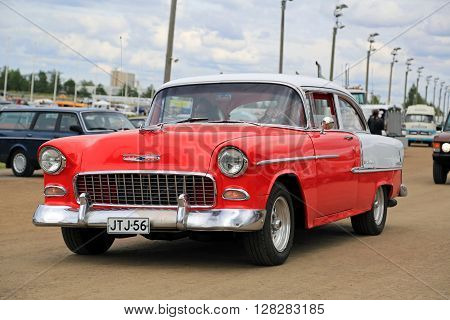 FORSSA FINLAND - AUGUST 2 2015: Classic car Chevrolet Bel Air of Second generation manufactured between 1954-57 on the public event of Pick-Nick Car Show.