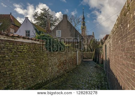 Urban landscape of a small town of Zeeland, the Netherlands province.