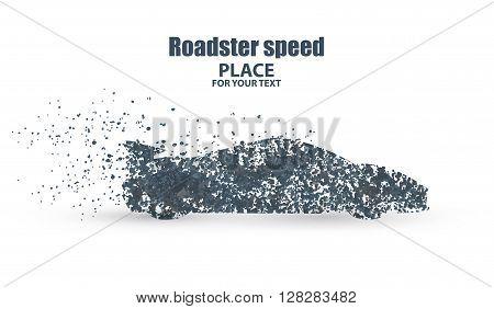 Roadster , symbolizing speed vector illustration.particle divergent composition