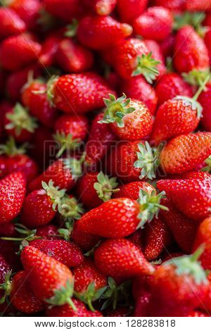 Fresh red strawberries arranged in baskets ready for sale at marketplace. Shallow depth of field.