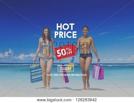 Hot Price Big Sale Deduction Advertisement Retail Concept