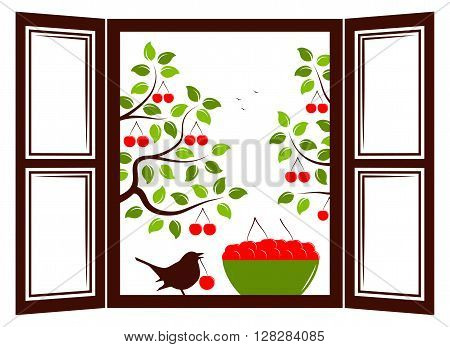 vector bowl of cherries and bird in the window and cherry trees outside the window