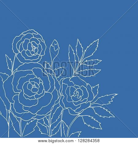 Beautiful roses isolated on blue background. Hand drawn vector illustration with flowers. Romantic retro floral card. Romantic delicate bouquet. Element for design. Contour lines and strokes.