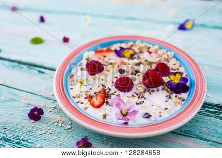 Porridge, Oatmeal with fruit - traditional, healthy breakfast