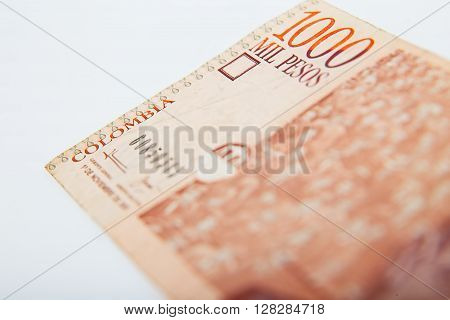 National currency of Colombia isolated on white background