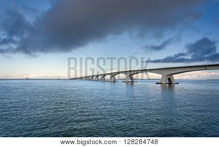 The Zeeland Bridge is the longest bridge in the Netherlands. The bridge spans the Oosterschelde estuary. It connects the islands of Schouwen-Duiveland and Noord-Beveland in the province of Zeeland.