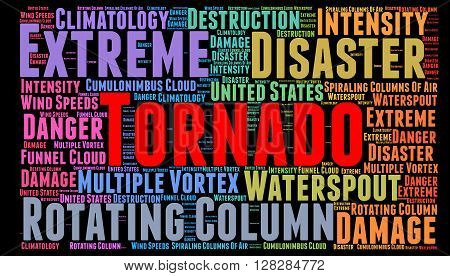 Word cloud with words related to tornado disaster