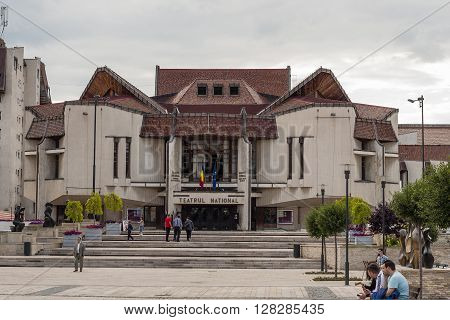 Targu - Mures Mures / Romania - June 22 2014: Front entrance view of the National Theater building in Targu- Mures Mures County Romania