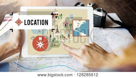 Location Navigation Map Direction Route Concept