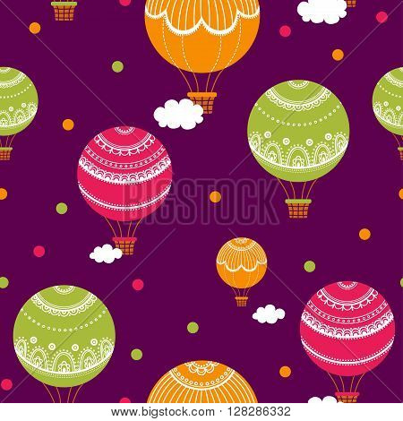 Background with hot air balloons. Vector illustration of colorful hot air balloons. Vintage seamless pattern.