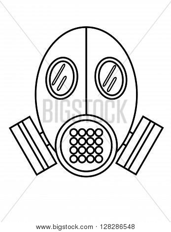 Black on white flat outline vector of a gas mask or breathing apparatus
