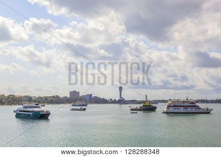 Ships In The Harbor Of Stone Town In Tanzania