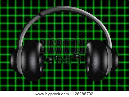 3D illustration of a pair of headphones with musical notes