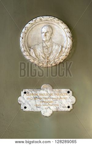 ZAGREB, CROATIA - SEPTEMBER 14: Archbishop George Haulik, relief in the Basilica of the Sacred Heart of Jesus in Zagreb, Croatia on September 14, 2015.