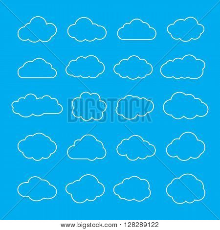 Clouds. Cloud shapes thin line icons set. Cloud symbols. Clouds outlines isolated on blue background. Collection of cloud pictograms. Vector icons of clouds. EPS8 vector illustration.