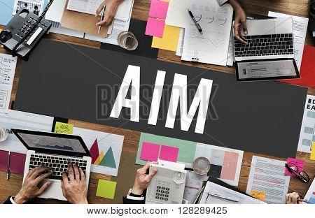 Aim Aspiration Goal Inspiration Mission Strategy Concept