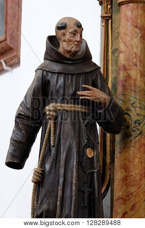 KOTARI, CROATIA - SEPTEMBER 16: Statue of Saint James of the Marches on altar of Saint Anthony in the church of Saint Leonard of Noblac in Kotari, Croatia on September 16, 2015.