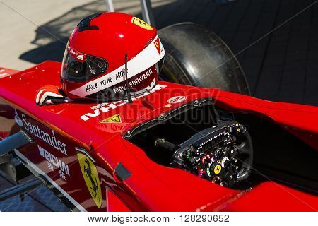 Lviv Ukraine - Juny 6 2015: Cockpit of the Ferrari F1 bolide on display at in the championship of Ukraine drifting in Lviv.