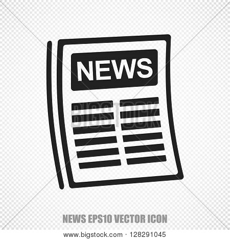 The universal vector icon on the news theme: Black Newspaper. Modern flat design. For mobile and web design. EPS 10.