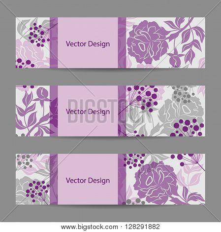 Set of horizontal banners. Vloral vector background with colored peonies and berries.