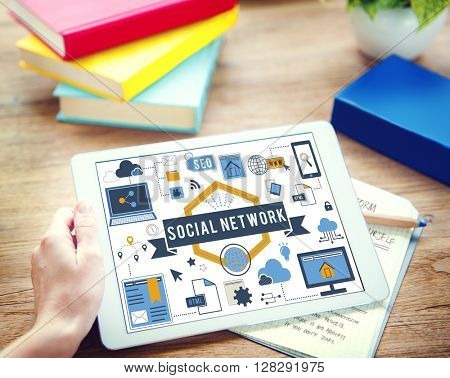 Digital Device Display Network Social Technology Concept