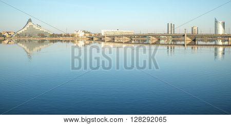 Riga city library and a bridge over Daugava Dvina river