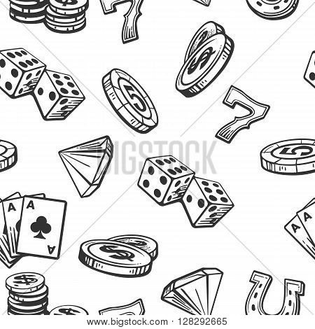 Seamless Pattern Casino set symbols. Black and white vintage vector illustration on white background for label poster web icon banner