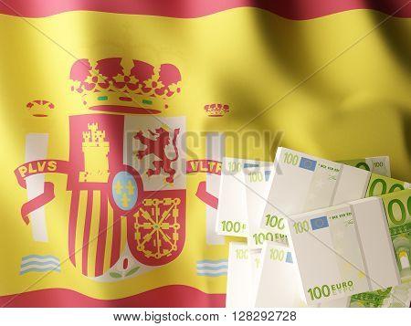 Euro banknote bundles on textile textured Spain flag.3d rendering.