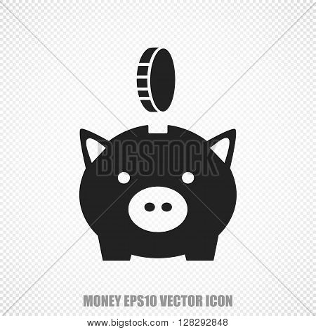 The universal vector icon on the currency theme: Black Money Pig With Coin. Modern flat design. For mobile and web design. EPS 10.