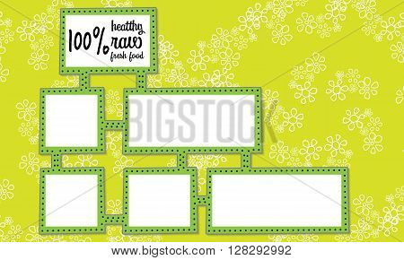 Abstract frames for your text and healthy fresh raw food headline