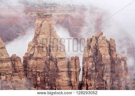 sandstone formations in fog in Colorado National Monument, Colorado