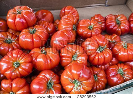 Red heirloom tomatoes in a market in Paris, France
