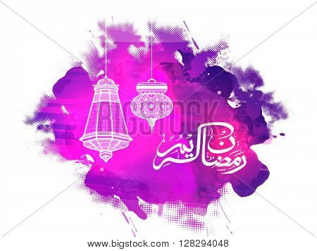 Elegant greeting card design decorated with traditional lamps and arabic islamic calligraphy of text Ramadan Kareem on abstract background.
