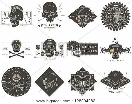 Set of skull labels. Badge insignia emblem logo sign identity logotype. Vector vintage illustration